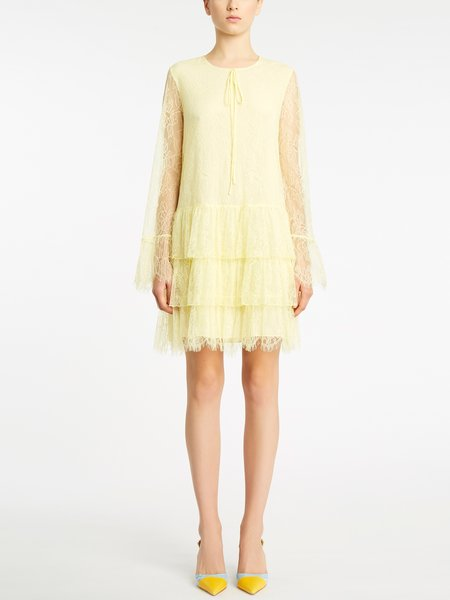Long-sleeved lace dress with flounces