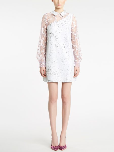 Sequinned and embroidered organza dress