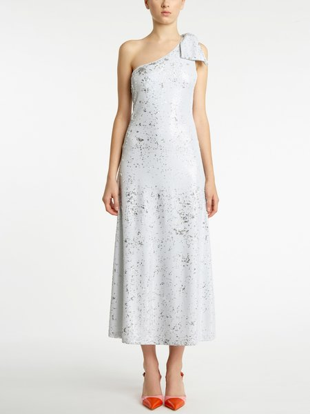 Single-shoulder dress with sequined embroidery - white