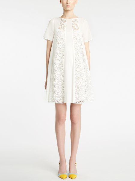 Cotton dress with macramé lace insets