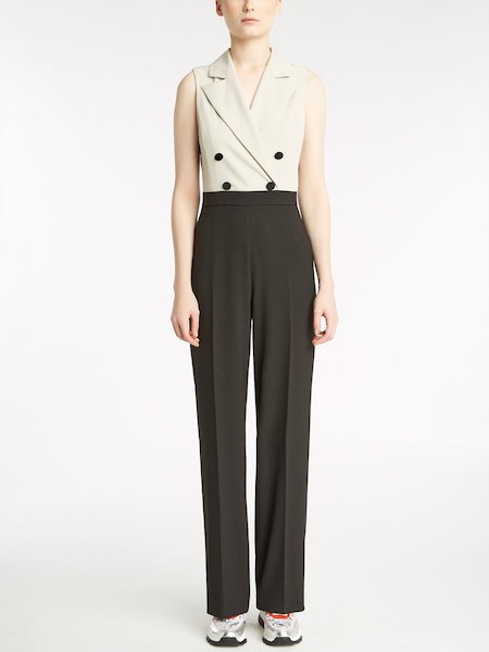 Two-tone sleeveless jumpsuit