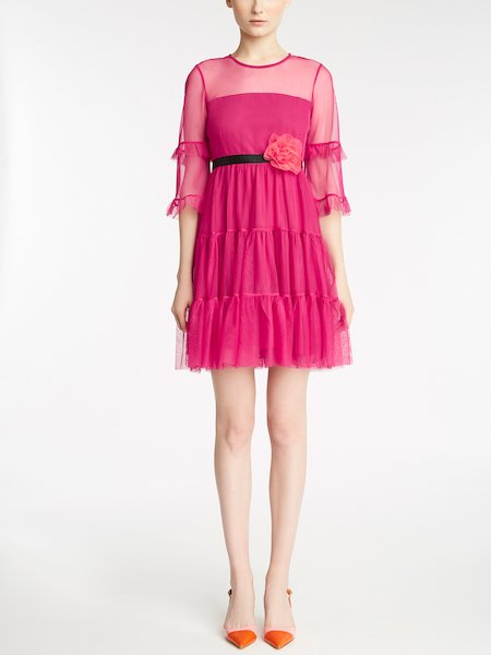 Dress in tulle with frill and belt