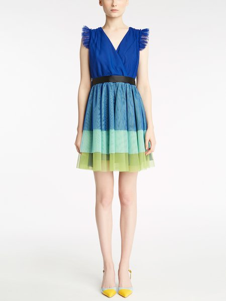 Dress in multicoloured tulle with belt