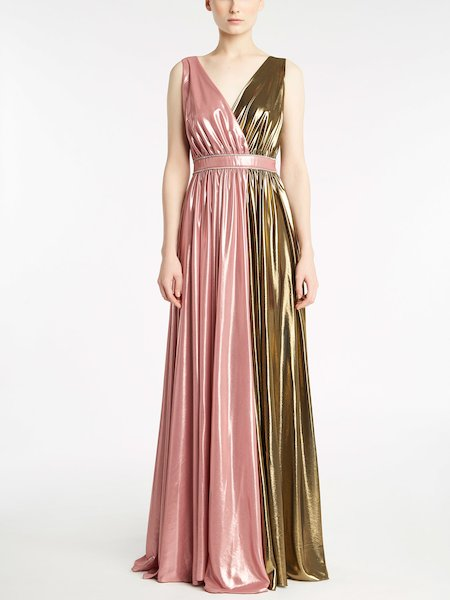 Long dress in Lurex-laminated georgette