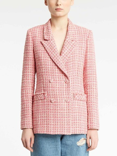 Double-breasted bouclé jacket - pink