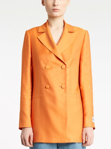 Double-breasted jacket with covered buttons - Orange