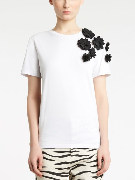 Cotton T-shirt with 3D floral embroidery - white