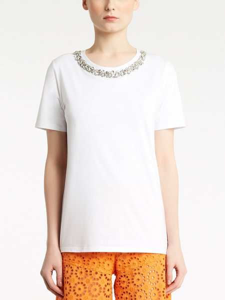 Round neck T-shirt with rhinestone embroidery