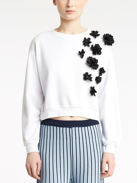 Sweatshirt with 3D floral embroidery - white