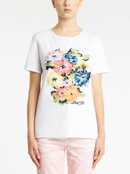 Cotton T-shirt with floral embroidery and logo