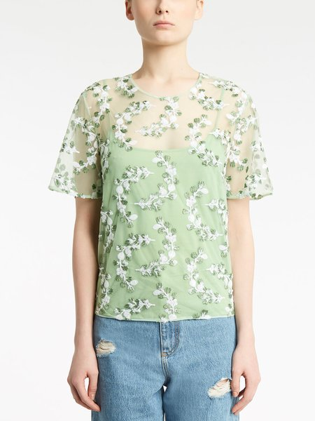 Short-sleeved blouse with sequined embroidery