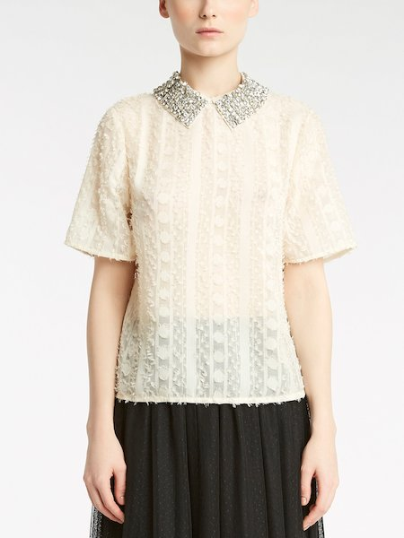 Short-sleeved blouse with fil coupé embroidery and rhinestones