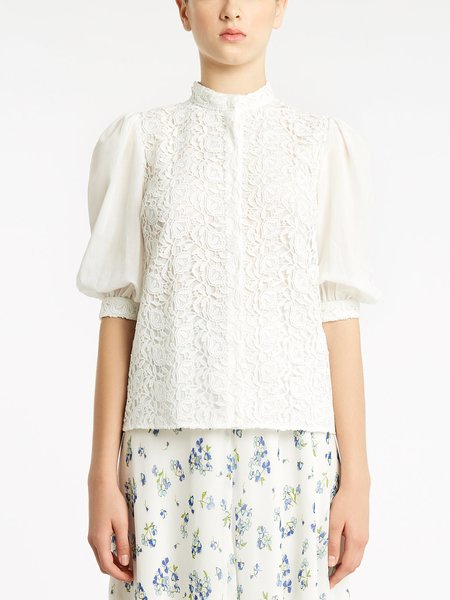 Cotton shirt with macramé lace