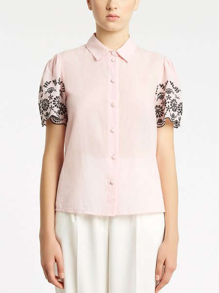Cotton shirt with broderie anglaise embroidery