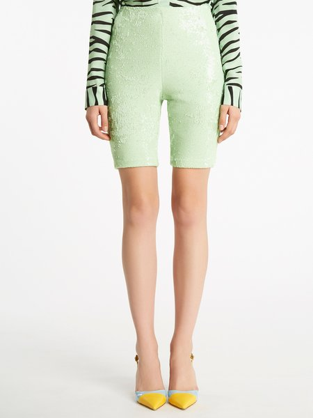 Cycling trousers with sequined embroidery
