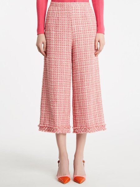 Cropped, bouclé, loose-fit trousers