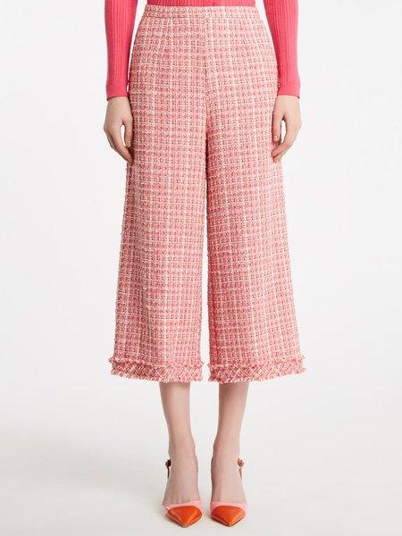 Pantalones holgados recortados bouclé - Rosa
