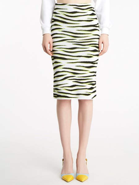 Skirt in jacquard knit with zebra motif - Verde Lime
