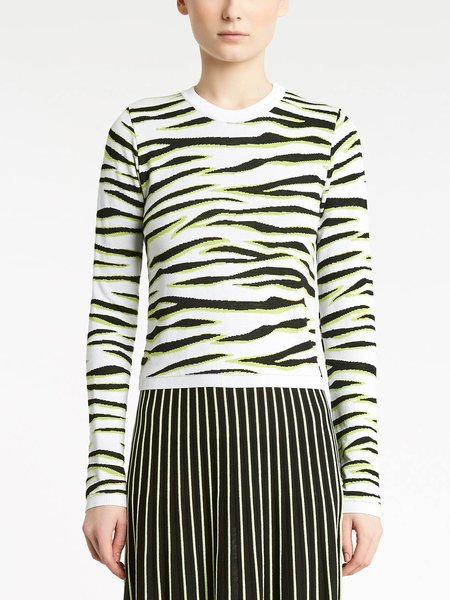 Round-neck sweater with jacquard zebra motif - Verde Lime