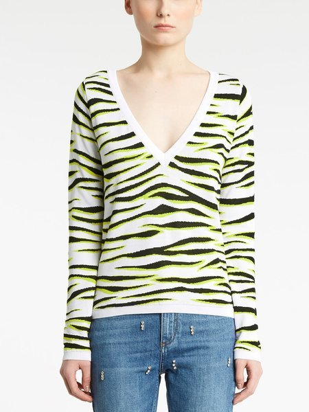 V-neck sweater with jacquard zebra motif - Verde Lime