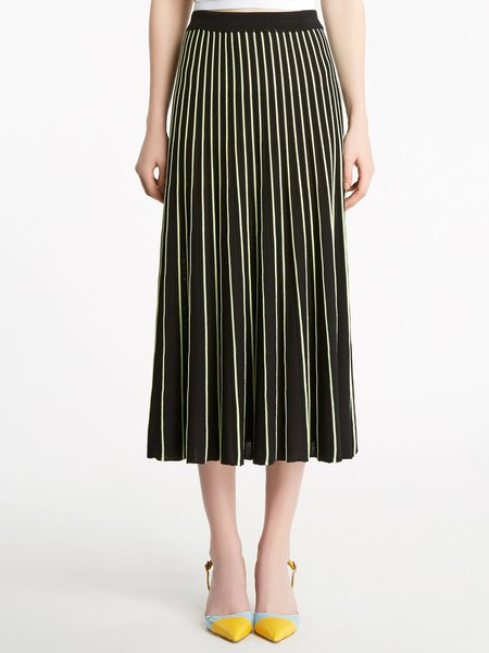 Striped, knitted, midi skirt
