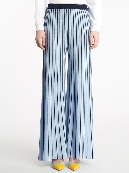 Striped knitted trousers - blue