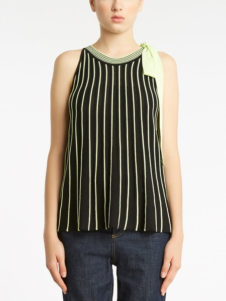 Two-tone striped knitted top - Black