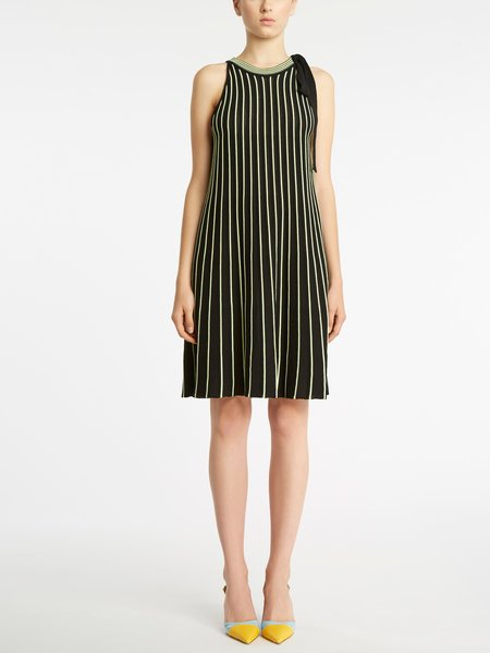 Two-tone striped knitted dress - Black