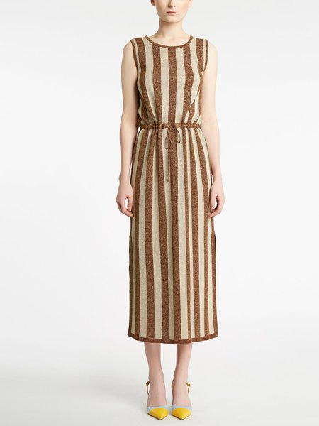 Striped knitted midi-dress - Brown