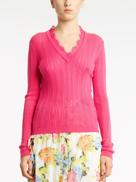 Long-sleeved sweater with lace - fuchsia
