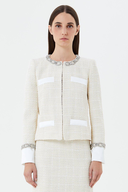 Bouclé jacket with rhinestone embroidery