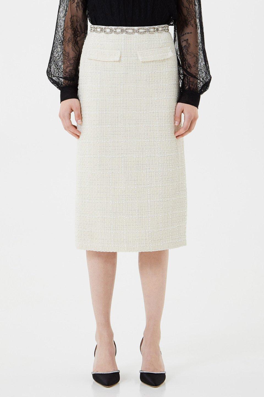 Bouclé skirt with rhinestone embroidery