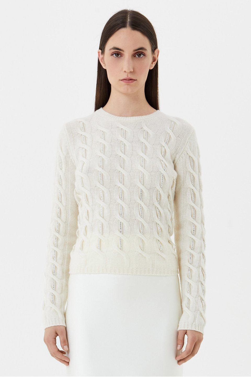 Wool jumper with rhinestone embroidery