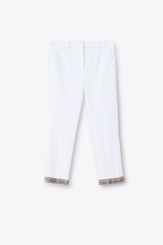 Pantaloni Ricamo Strass