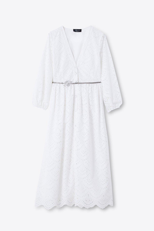 Vestido camisero con bordado calado