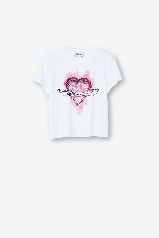 Camiseta de algodón con estampado de corazón y logotipo