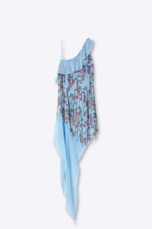 Schulterfreies Kleid mit Stickerei