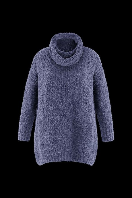 Knitted Bouclé Dress High Collar