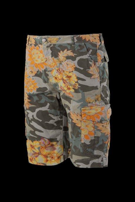 Cargo shorts camo-floral print