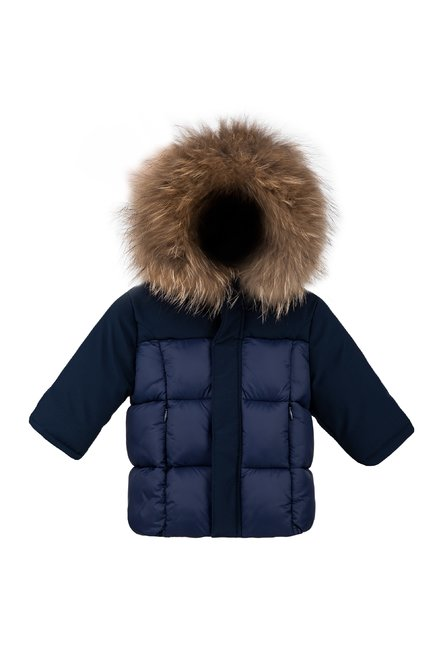 Baby synthetic down jacket with fur hood