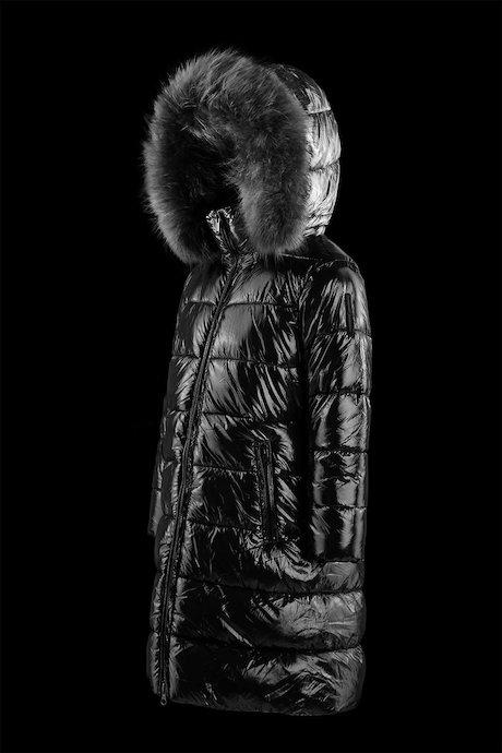 Girl's long laqué down jacket
