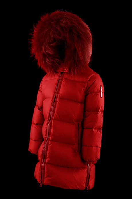 Girl's down jacket with sides zip