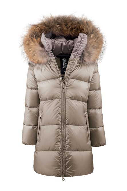 Down jacket in bright nylon with fur hood