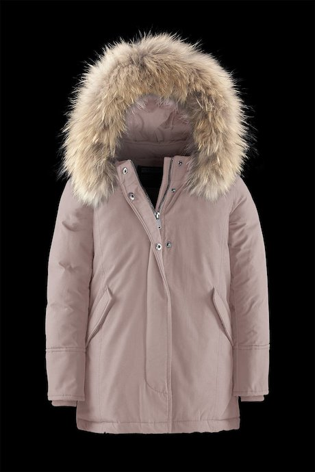 Real down jacket with fur hood