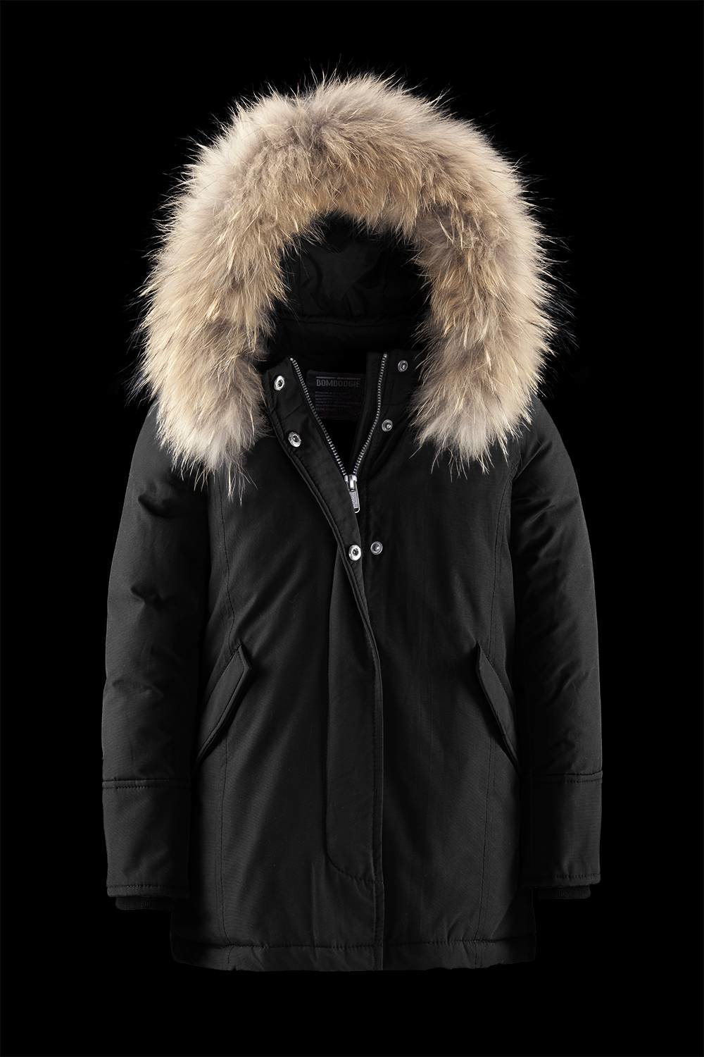Synthetic down jacket with fur hood