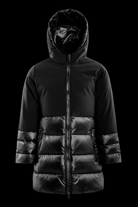 Bi-material girl's down jacket