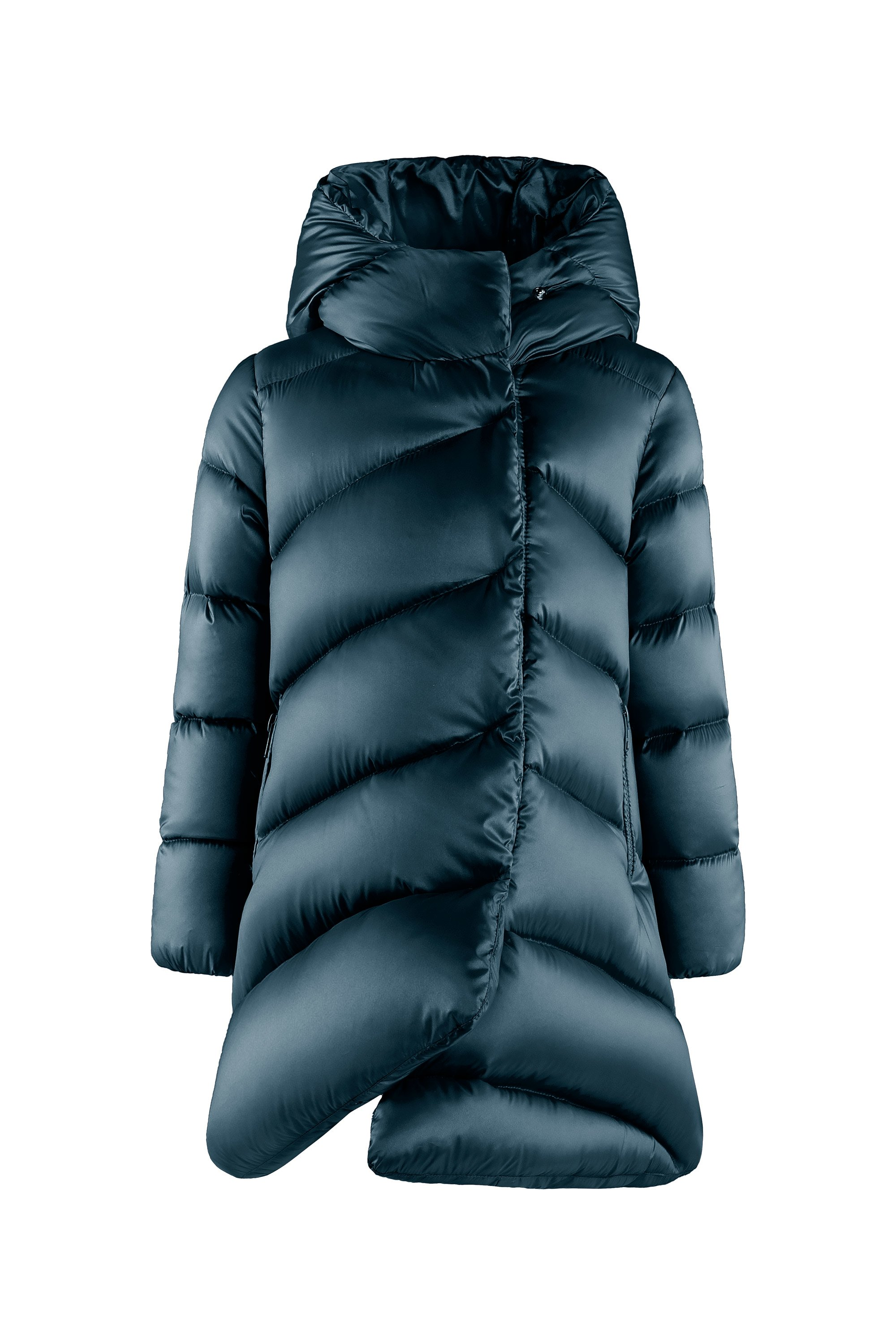 Real down jacket in nylon satin