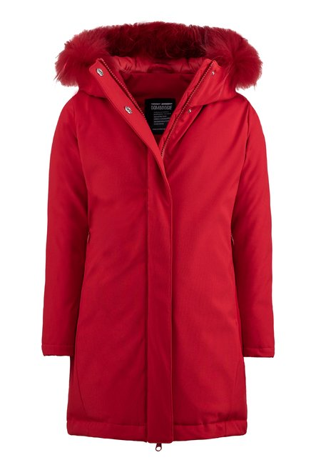 Synthetic parka with real fur hood