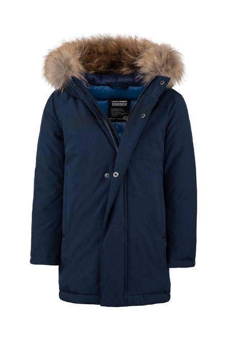 Real down parka with fur hood