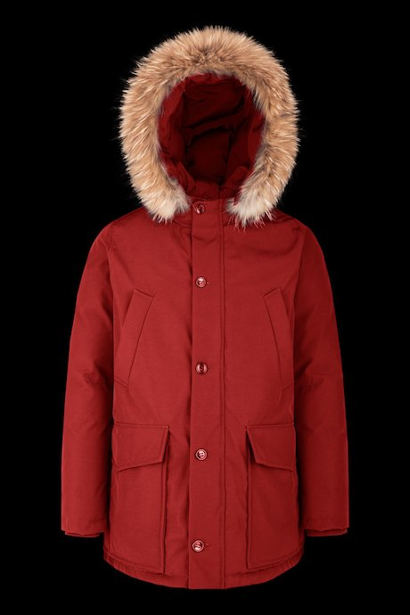 Multipocket parka with fur inserts